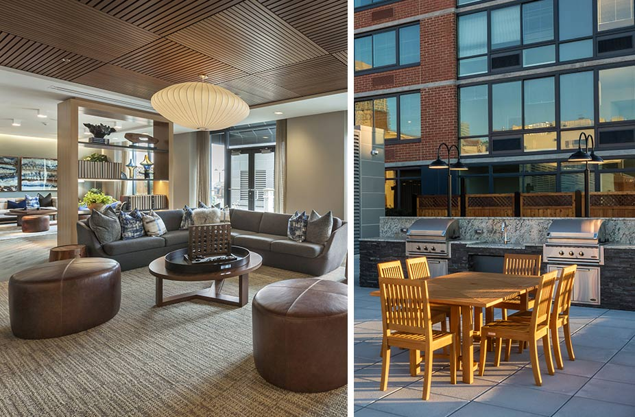 split image with photo of lobby seating area on left and outdoor grilling area on right at The Morgan at Provost Square