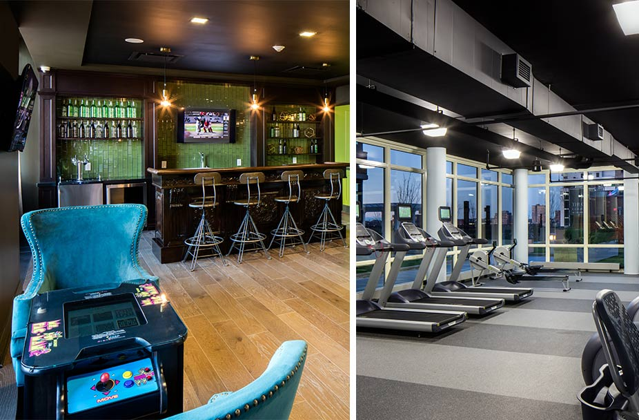 split image with photo of bar and game room on left and fitness center on right