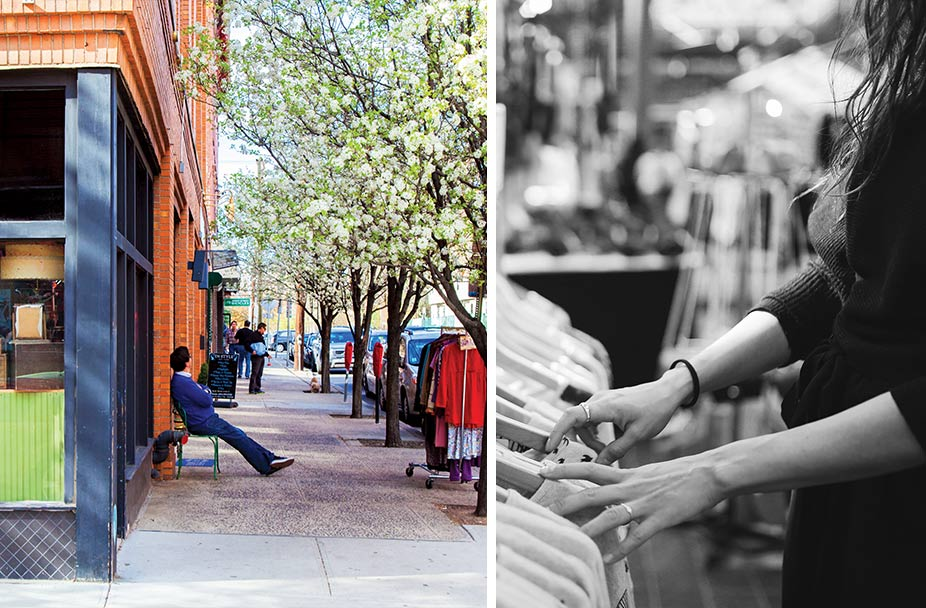 split image with color photo of man sitting on chair on sidewalk during the spring time on left and black and white photo of a woman clothes shopping on right