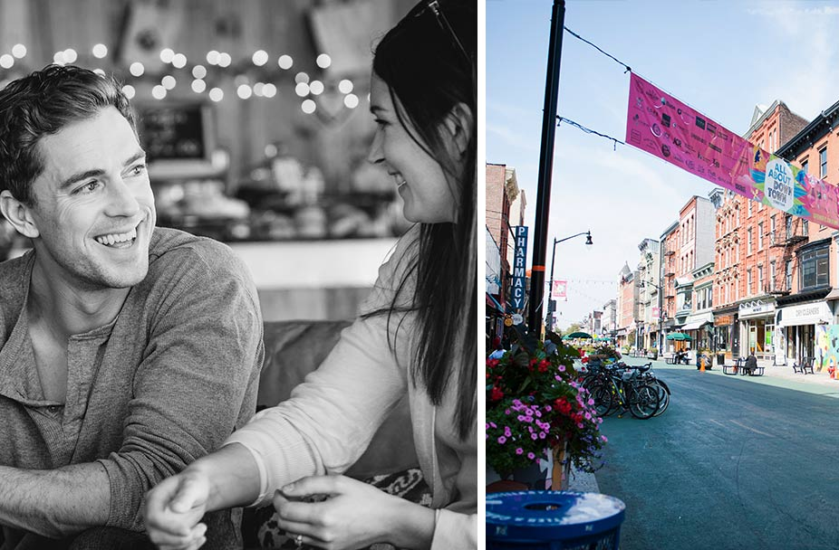 split image with black and white photo of smiling couple talking on left and street in Jersey City on right